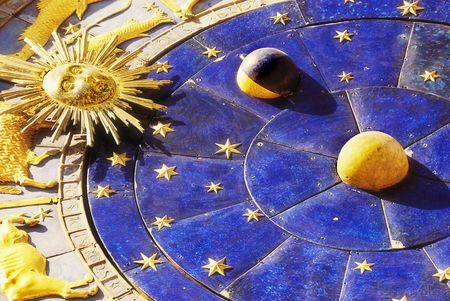 Close up astrological clock in Piazza San Marco, Venice