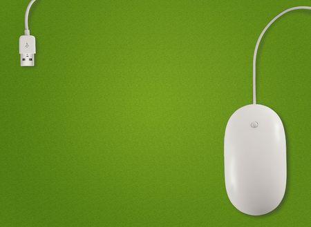 raton: Por encima de la vista del rat�n de ordenador con sobre fondo verde