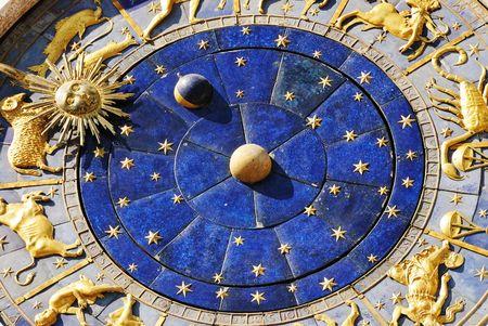 Close up shot of astrological clock Stock Photo