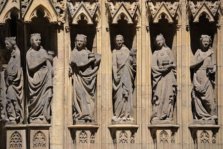Erfurt, Germany - Caryatids, sculpted female figures, used as columns of cathedral (Dom). Stock Photo - 5168505
