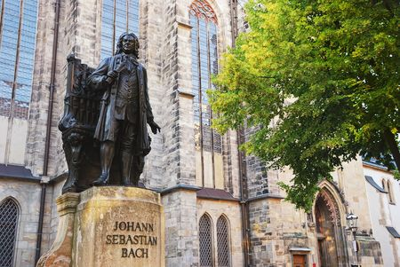 Johann Sebastian Bach (1685 - 1750), German composer and organist. This large Bach monument was created by Carl Seffner in 1908.