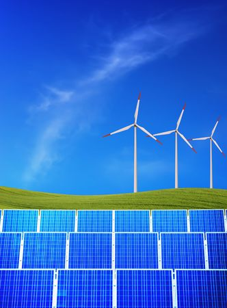 Solar panels and wind turbines against green field and blue sky