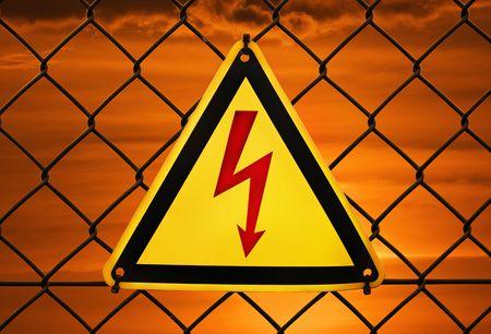 Metal warning sign  photo