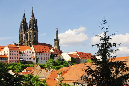 Albrechtsburg castle and Cathedral in the centre of Meissen, Germany (Europe).