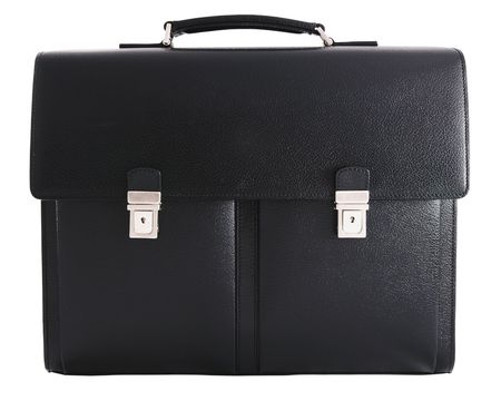 Black leather briefcase - front view. Isolated on white background.
