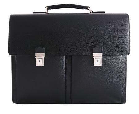 Abteile: Schwarzes Leder Aktenkoffer - Ansicht von vorn. Auf wei�en Hintergrund isoliert. Lizenzfreie Bilder