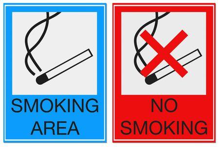 Dwa znaki z palenie dozwolone i zabronione odizolowane na biaÅ'y dla Å'atwego ekstrakcji.  Zdjęcie Seryjne - 5571246
