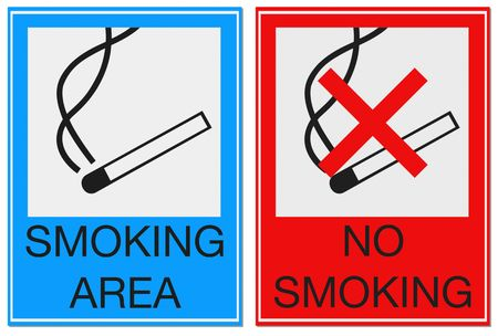 Two signs with smoking allowed and prohibited isolated on white for easy extraction.  Stock Photo - 5571246
