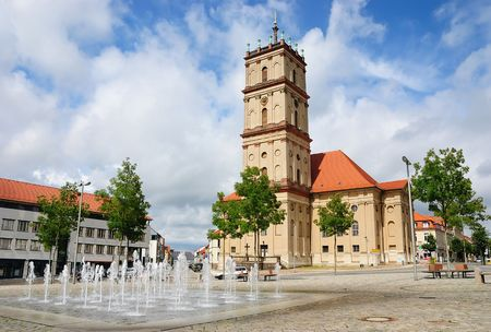 neustrelitz: Marktplatz (Market Square), with the Stadtkirche (city church) in Neustrelitz, Germany (Europe)