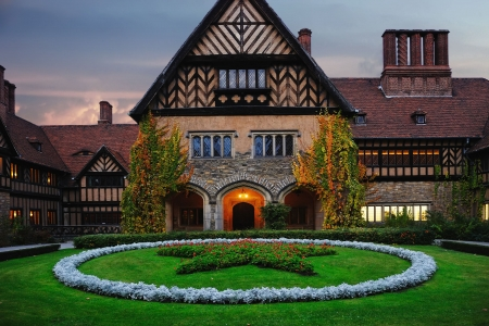 Schloss Cecilienhof in Potsdam, Germany (Europe) in the twilight.