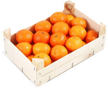 clementines: Clementines in container. Isolated against white background.