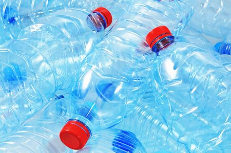 Close up shot of empty plastic bottles for recycling. Stock Photo