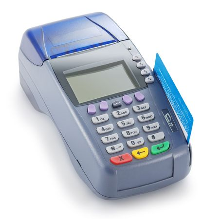 the reader: Credit card reader isolated against white background Stock Photo