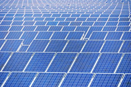 Close up shot rows of solar panels. Stock Photo