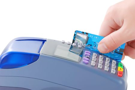 Paying with credit card via POS-terminal. Isolated on white background.