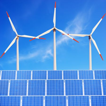 Solar panels and Wind Turbines against blue sky. Conceptual image. Stock Photo - 6528738