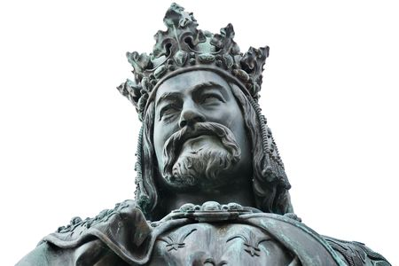 Statue of King Charles IV on Cross Square, near Charles bridge in Prague. This is a bronze Neo-Gothic statue unveiled in 1848 in honour of the 500th anniversary of the founding of Pragues Carolinum University.  Close up shot isolated on white background. Stock Photo