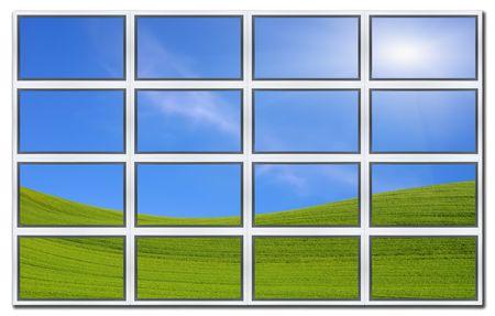 Isolated on white background flat screens displaying idyllic landscape photo