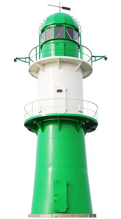 Green and white Lighthouse isolated on white background. Germany, Ost See.
