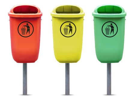Recycle bins in different colors isolated against white background. Stock Photo