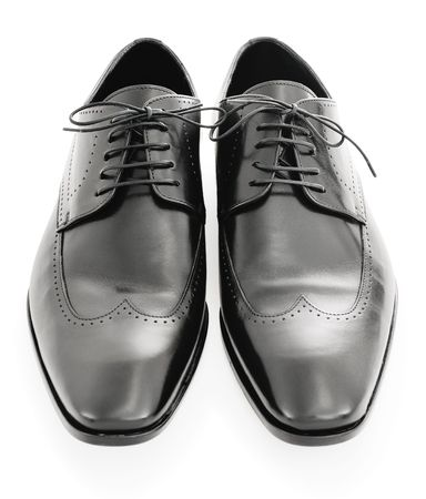 Mens black leather dress shoes isolated on a white background Stock Photo