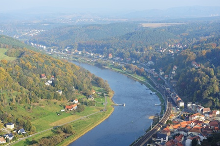 View from Koenigstein Fortress (near Dresden) looking down on Elbe river and mountains of Saxony Switzerland