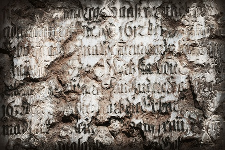 Old inscription carved into marble wall. Gunge background. Stock Photo - 8348670