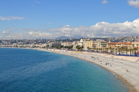 View of the french riviera coastline in Nice, France