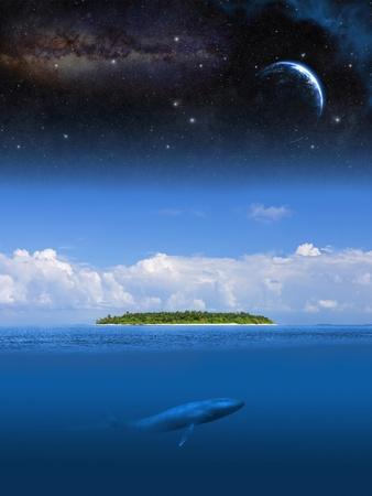 Abstraction image of desert island in ocean under star sky