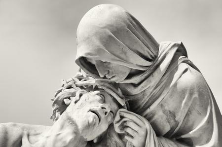 marseille: Passie van Christus in de voorkant van de basiliek Notre-Dame de la Garde in Marseille, Frankrijk Stockfoto