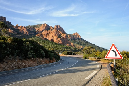french riviera: Road Curve in French riviera, France Stock Photo