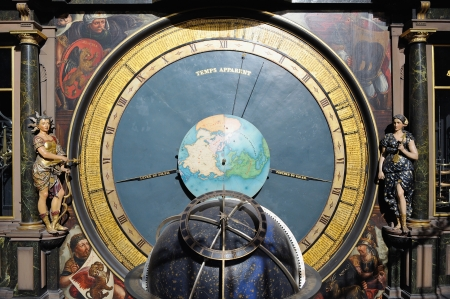 Details of historical astronomical clock located in Strasbourg Cathedral  This clock was made in 1842