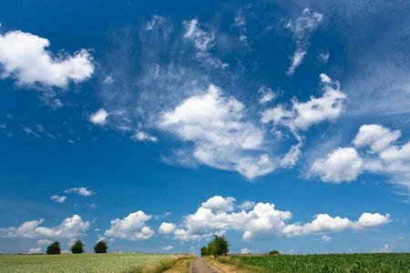 blue sky with white cloud above country fields in summer day photo