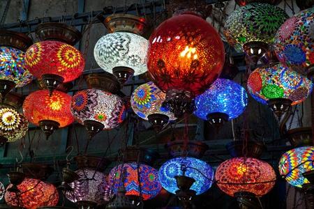 varicoloured: glass mosaic varicoloured lamps Stock Photo