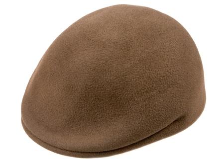 kepi: green felt mans cap isolated on white