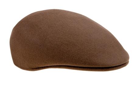 brown felt mans cap isolated on white