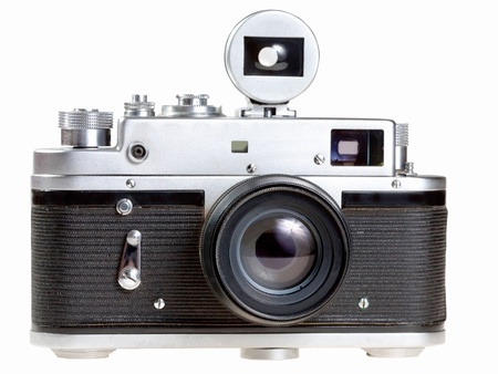photocamera: old film photocamera isolated on white