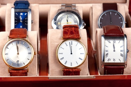 box with new year wristwatches photo