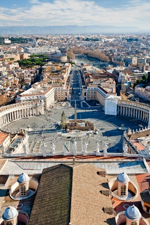 view on St.Peter Square from roof of St.Peter Basilica Stock Photo - 8911869