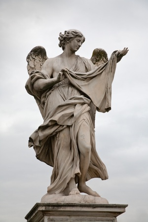 angel statue: Angel statue on St.Angel  Bridge in Rome, Italy