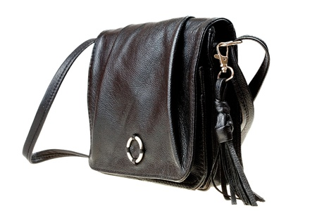 pochette: small ladys leather black bag