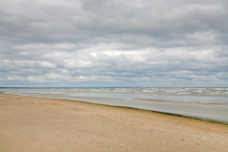 jurmala: sand beach on Baltic sea (Gulf of Riga) near Jurmala,Latvia