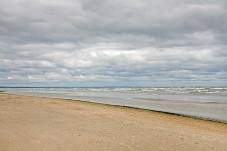jurmala: sand beach on Baltic sea (Gulf of Riga) near Jurmala,Latvia