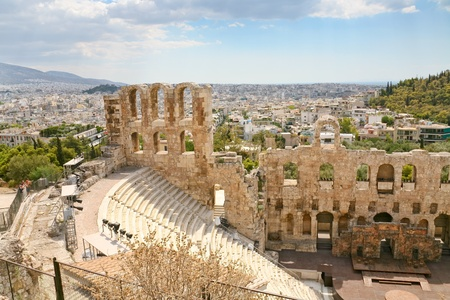 View of the theater Odeon from the Acropolis, Greece photo