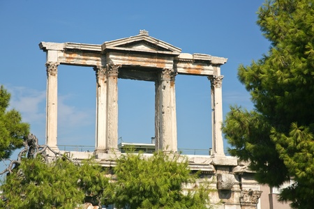 hadrian: Arch of Hadrian in Athens, Greece Stock Photo