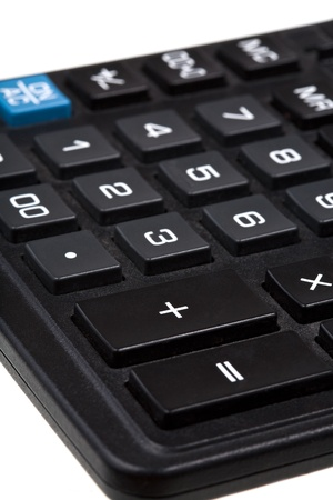 summation: sum and equal buttons on black calculator close-up