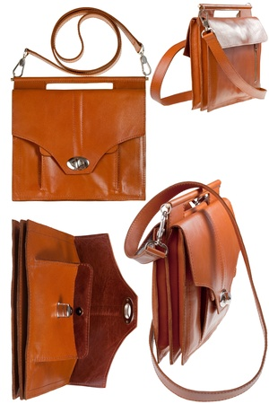 pochette: brown leather ladys bag