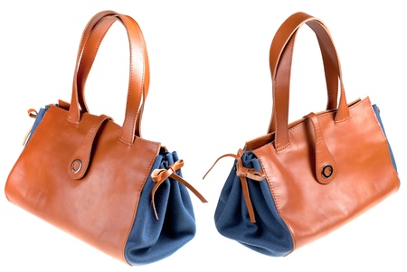 pochette: two ladys bag isolated on white