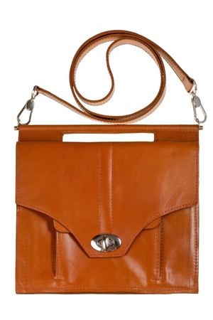 pochette: brown leather ladys bag