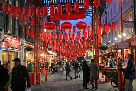 LONDON - JANUARY 2009: China Town is decorated by Chinese lanterns during Chinese New Year at January 21, 2009 in London, UK